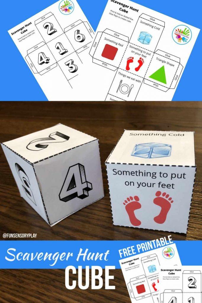 Sensory Scavenger Hunt Cube Printable