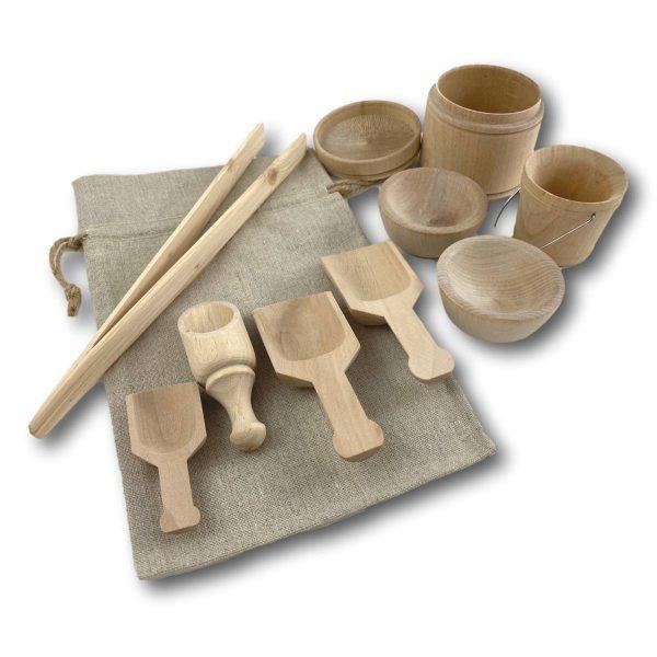 Sensory bin wood tools