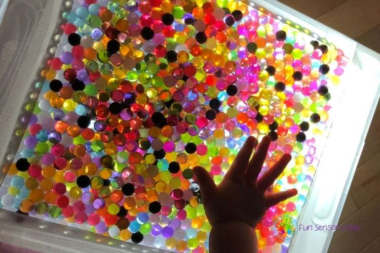 Water Bead Light Box Activity for Kids