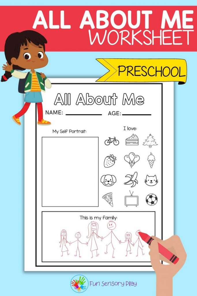 All About Me Free Worksheet Printable for Preschool